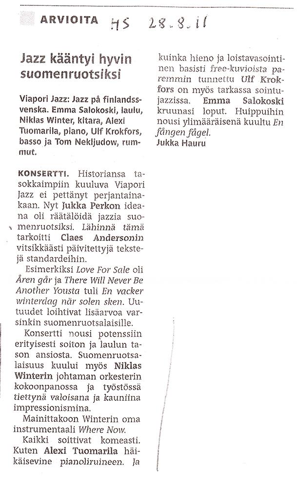 Jazz På Finlandsvenska ( HS 2011 )
