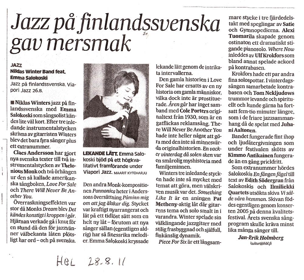 Jazz På Finlandssvenska ( HBL 2011 )